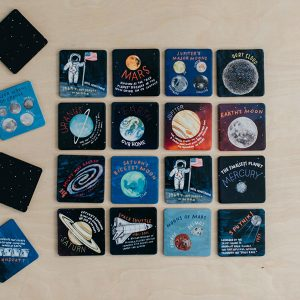 a set of hand-painted, space-themed coasters