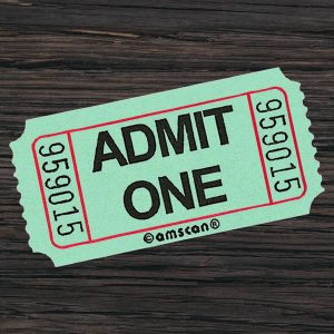 "a green movie ticket that says ""admit one"""