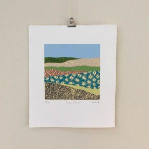 a hand-crafted collage print of a landscape