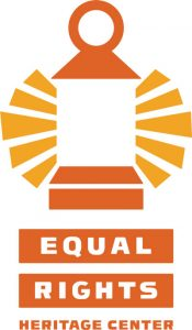 Orange and yellow logo of the Equal Rights Heritage Center which features a lantern as its mark