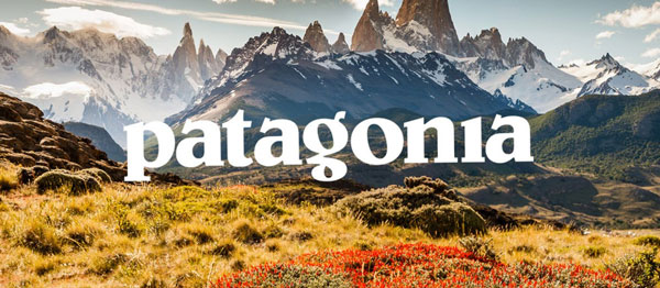 Photo of white mountains with text on top that says 'patagonia' for Shopping Good post