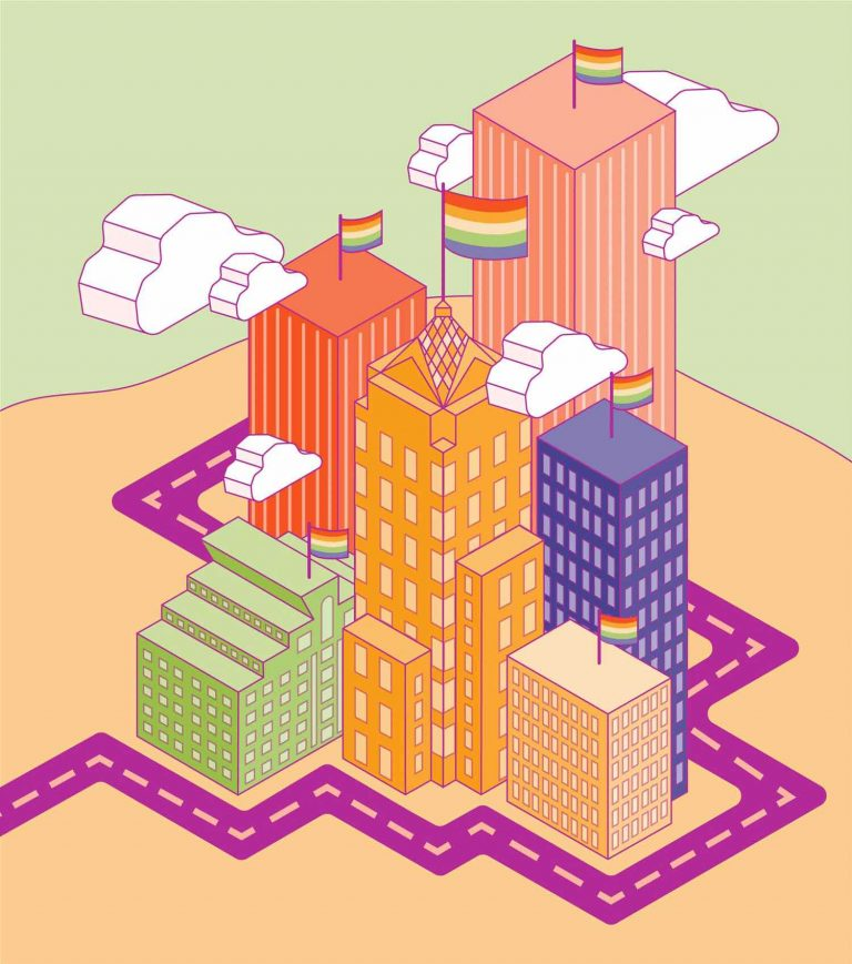 Illustration of downtown Rochester in bright colors with rainbow pride flags on top of the building