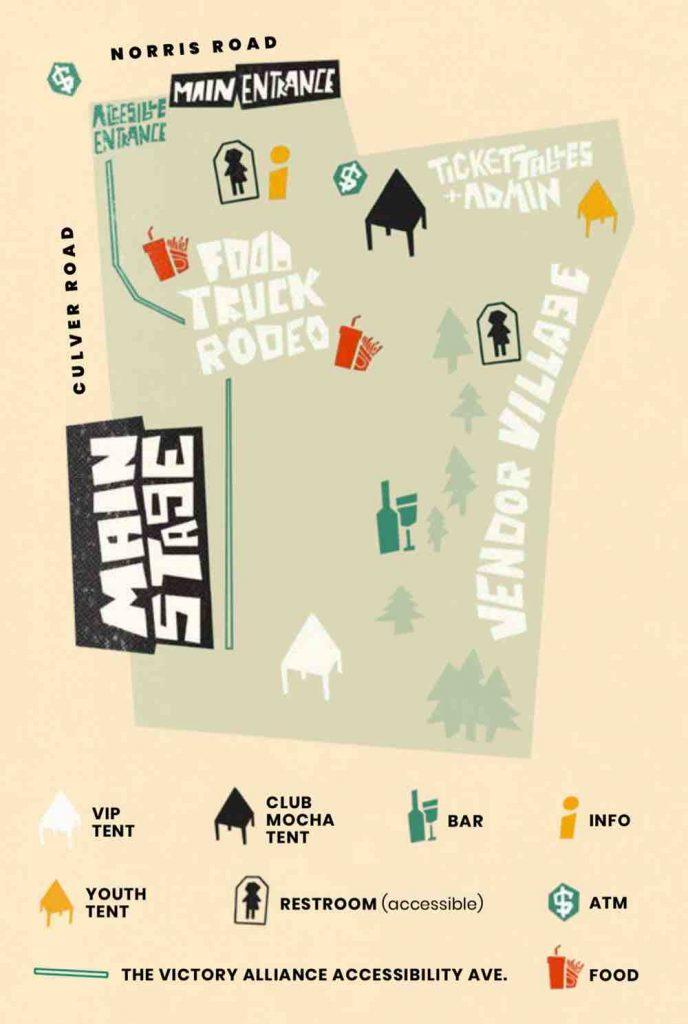 Illustrated map of Rochester Pride showing the main stage, food truck rodeo, main entrance, tickets, and vendors