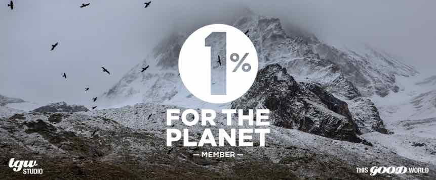 Graphic with the 1% for the Planet member logo, TGW Studio logo, and This Good World logo on top of an image of a white snowy mountain. 1% proceeds go to Finger Lakes Land Trust and Adirondack Council