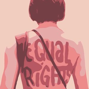 Illustration of a person's back with the words 'equal rights' on their shirt