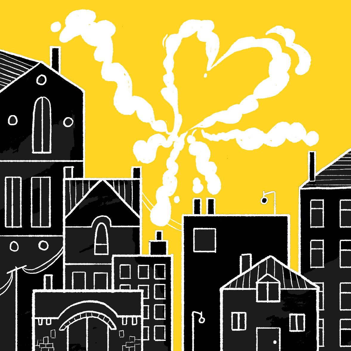 illustration of neighborhood with heart-shaped cloud