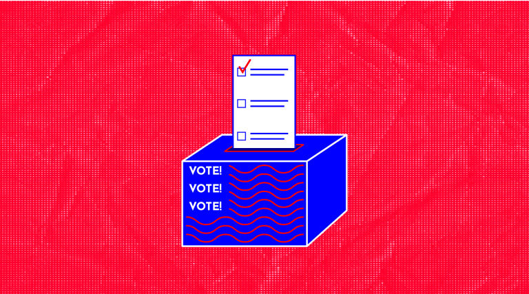"illustration of a ballot going into a ballot box with the words ""vote!"" on it"