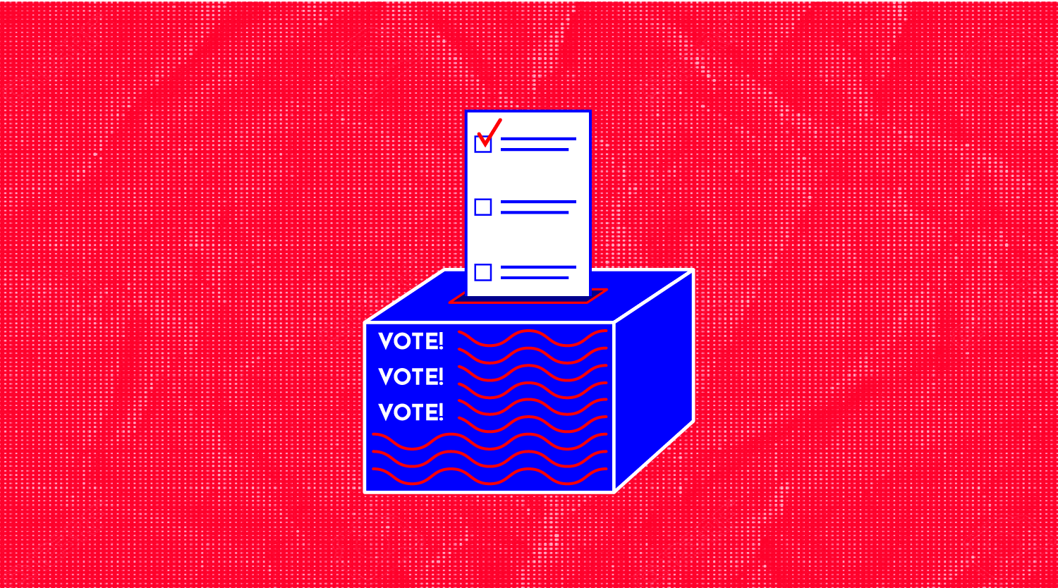 """illustration of a ballot going into a ballot box with the words """"vote!"""" on it"""