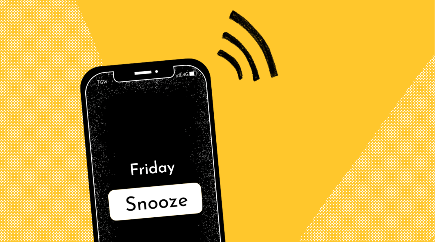 "A black phone sits on a yellow background that has an alarm going off marked ""Friday"" coupled with a snooze button"
