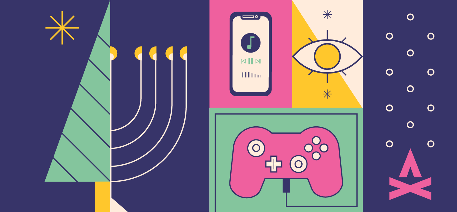 vectorized collage illustration of the ways you can stay connected with tech this holiday season
