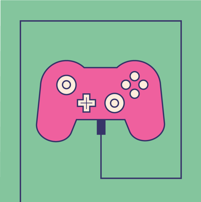 An illustration of a game controller