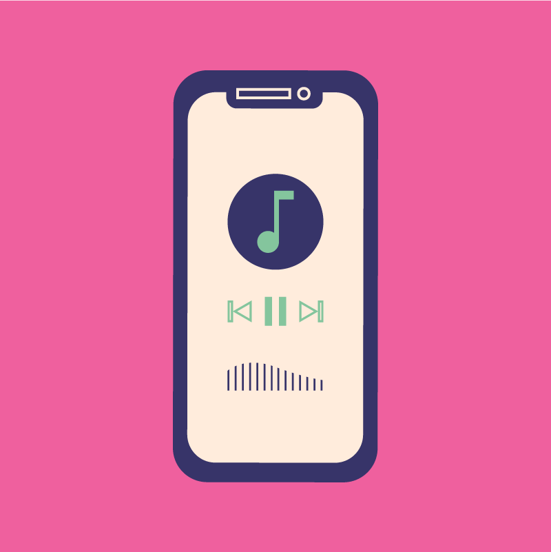 illustration of a phone with Spotify app open