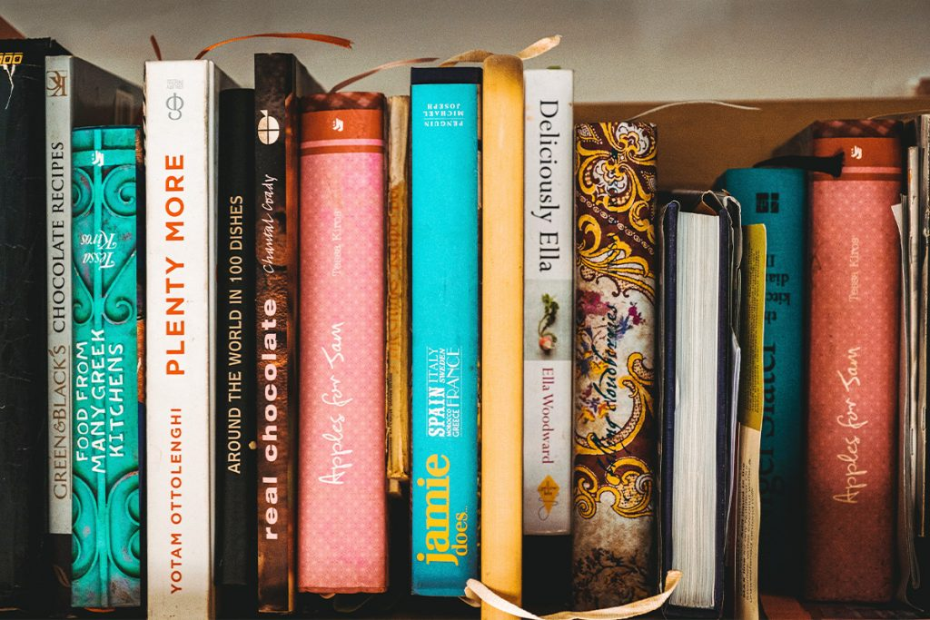 shelf of cookbooks