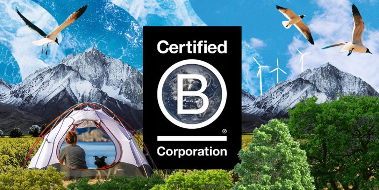 B Corporation logo surrounded by nature