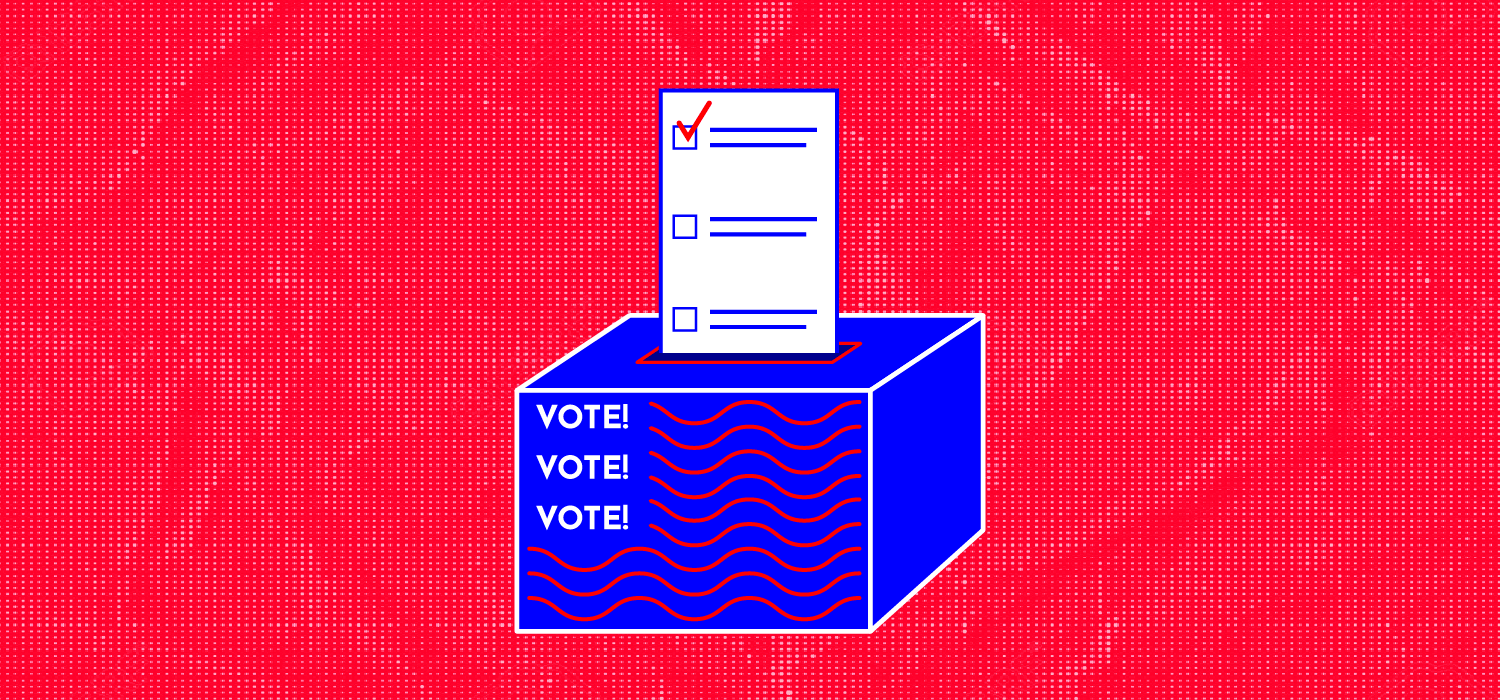 illustration of a ballot going into a ballot box with the words