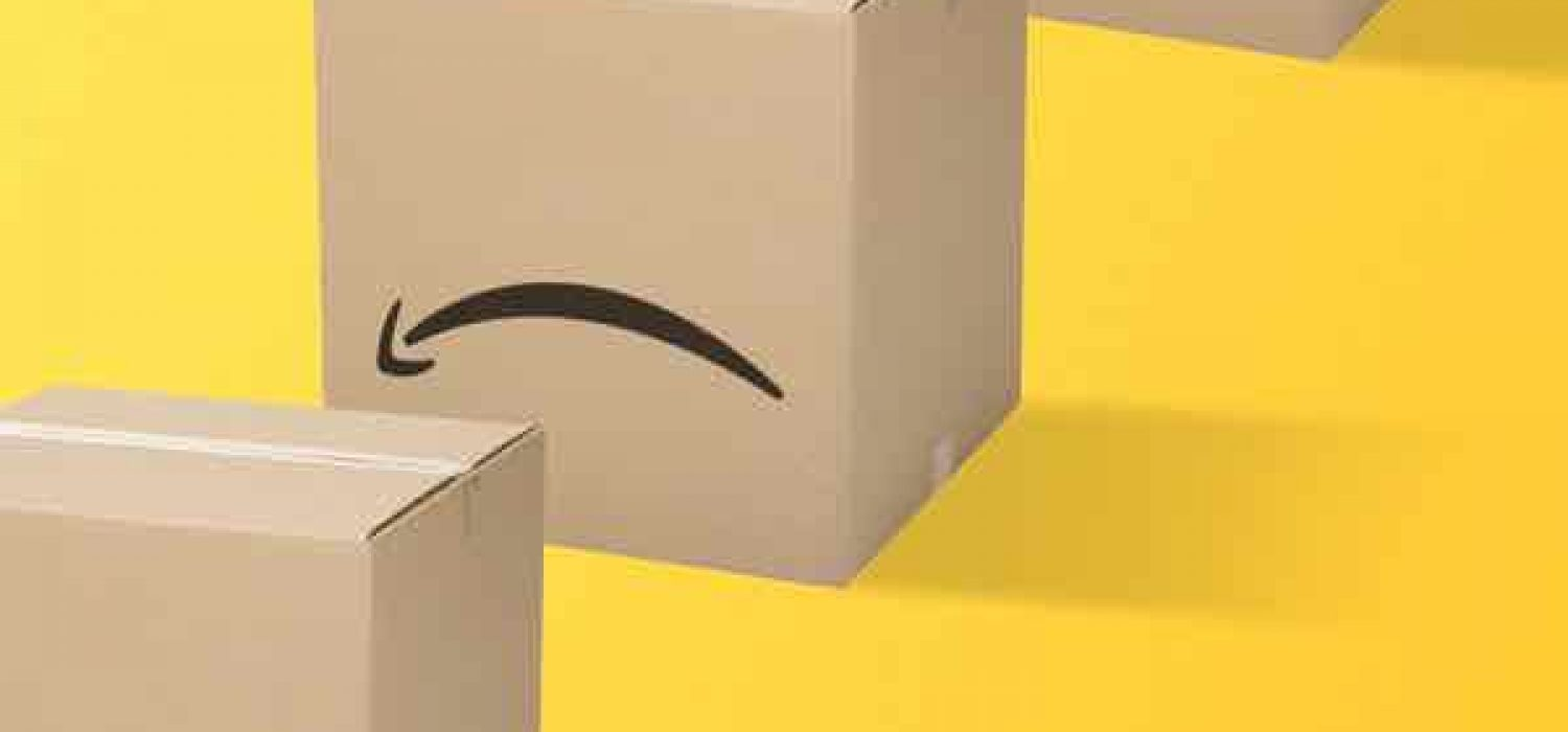 Graphic featuring shipping boxes on a yellow background