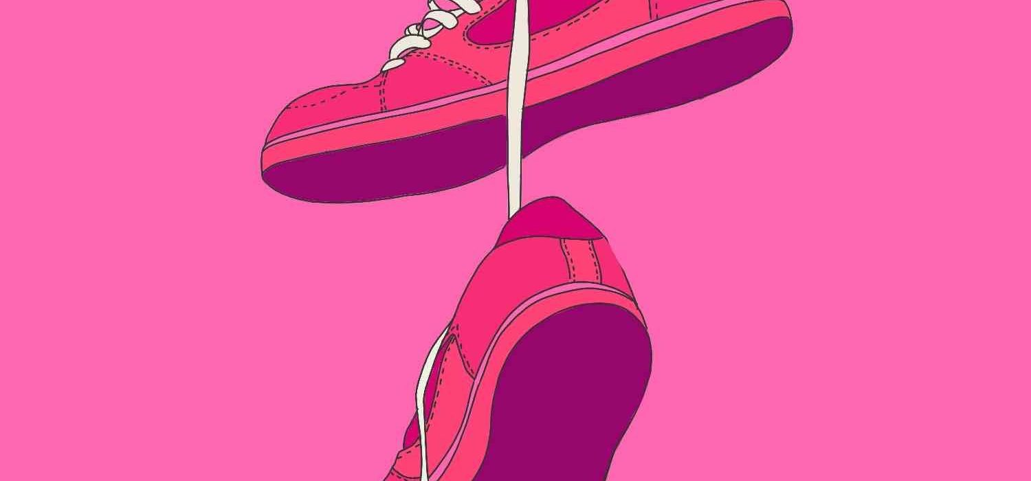 Illustration of pink sneakers with whit laces holding them up